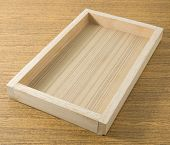 picture of serving tray  - Empty Wooden Serving Tray in Rectangular Forms on A Table For Carrying Things - JPG