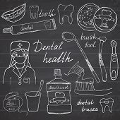 pic of toothpaste  - Dental health doodles icons set - JPG