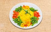 image of boil  - White dish with boiled rice cooked with turmeric with boiled vegetables  - JPG