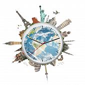 Постер, плакат: Illustration Of A Clock With Famous Monuments