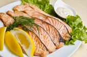 pic of salmon steak  - Baked salmon steak with stir - JPG