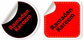 stock photo of ramadan calligraphy  - Arabic Islamic calligraphy of text Ramadan Kareem stickers label tag set isolated on white - JPG