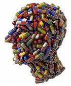 Human head created of medical pills.
