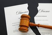stock photo of divorce-papers  - torn divorce decree and legal gavel  - JPG