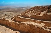 stock photo of masada  - A view of the Masada ruins and the Dead Sea and Judean Mountains behind it - JPG