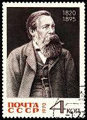 Vintage  Postage Stamp. Portrait Friedrich Engels.
