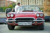Red Corvet on exhibition parking