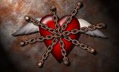 A chained winged heart