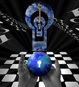 Uma estranha imagem surreal da terra, um tabuleiro de xadrez, uma chave de suspensa e várias aberturas