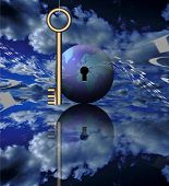 A key, binary code and the globe