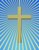 A cross with rays beaming