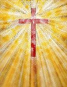 image of stained glass  - Stained Glass Cross - JPG