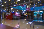 Shopping Mall Interior, Christmas Shopping Mall Defocused Background, Shopping Center, Abstract Blur poster
