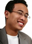 Close Up Young Asian Man With Dark Skin