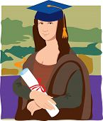stock photo of mona lisa  - The Mona Lisa dressed as a student wearing mortar cap and holding a diploma - JPG