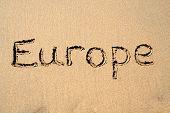 Europe, Written On A Sandy Beach. poster