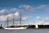 Three-masted ancient ship on parade on the river Scheldt during the 50th Tall Ships Race in Antwerp,