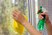 foto of trigger sprayer bottle  - Hands spray clean the window - JPG