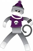 pic of sock-monkey  - Illustrated punk and gothic sock monkey toy with a skull shirt - JPG