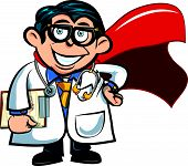 Cartoon doctor with a cape
