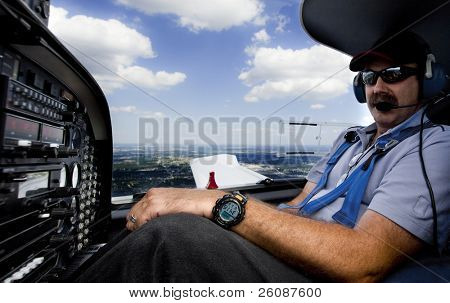 copilot flying small aircraft with