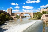 Medieval San Martin bridge in Toledo, Spain