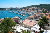 Panoramic view over Korcula old city on the side of the harbor, Croatia