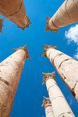 Pillars Temple of Artemis in Jerash, Jordan.