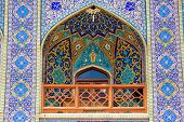 Tiled balcony, oriental ornaments from Seyed Alaedin Hossein Shrine, Astane, Shiraz, Iran