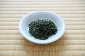 Japanese Green Tea Leaves and Tatami