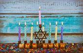 Star Of David Hanukkah Menorah Hanukkah Burning Candles poster
