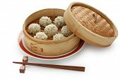 rice meatballs in the  bamboo steamer , chinese food