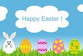 happy easter greeting card , easter bunny eggs
