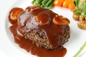 picture of hamburger-steak  - salisbury steak with mushroom gravy - JPG