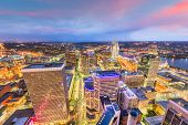 Cincinnati, Ohio, USA skyline from above at dusk. poster