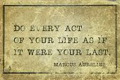 Do Every Act Of Your Life As If It Were Your Last - Ancient Roman Emperor And Philosopher Marcus Aur poster