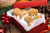 Christmas Homemade Gingerbread Man Cookies. Object. Close Up. Macro Photography poster