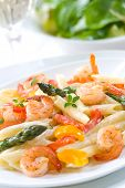 Shrimp Penne (tube-shaped pasta) with asparagus, bell pepper, origan and creamy Alfredo sauce . Gree
