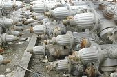 Fire hydrants pulled from disaster area, waiting to be refurbished. poster