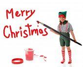 ein junges Mädchen gekleidet als Santas Elf, Gemälde mit einem roten