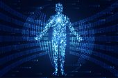 Abstract Technology Concept Human Digital Link On Binary Hi Tech Background poster