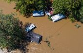 Aerial Drone View Looking Straight Down From Above Disaster Zone After Massive Hurricane Flooded And poster