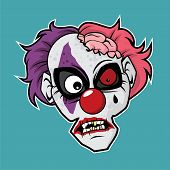 Design Of The Zombie Head Character - Clown Zombie poster