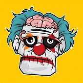 Design Of The Zombie Head Character - Sad Clown Zombie poster