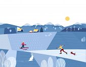 Winter Valley Landscape. Comic Country Outdoor Cartoon. Minimalism Simple Style. Winter Holiday Seas poster
