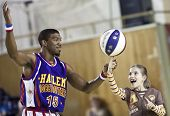 CLUJ-NAPOCA - MARCH 25: The world famous Harlem Globetrotters basketball team in an exhibition match