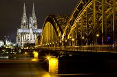 stock photo of koln  - Rhine River and Dom of Cologne - JPG