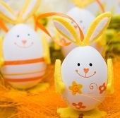 foto of bow-legged  - Bunny shaped easter eggs - JPG
