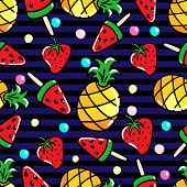 Vector Seamless Pattern With Pineapples, Watermelons And Srawberries On A Striped Background poster
