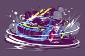 Power Racing Sport Car Drifting On Race poster